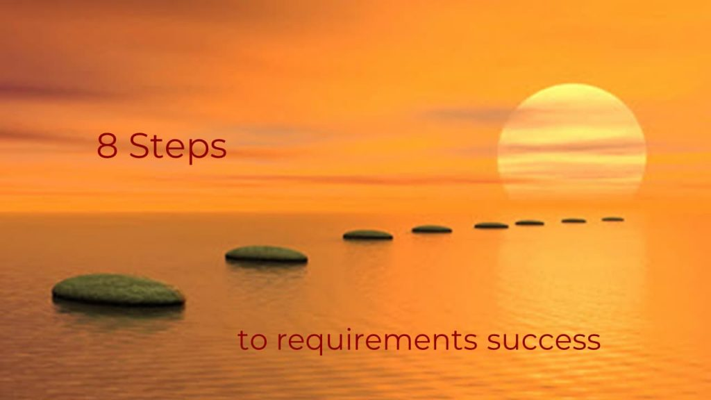 Picture of 8 stepping stones through a sea at sunset. The stones represent 8 steps to requirements success