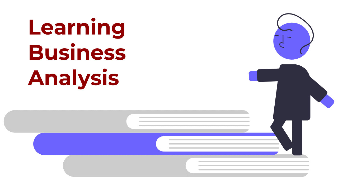 Learning business analysis - Person walking up set of books