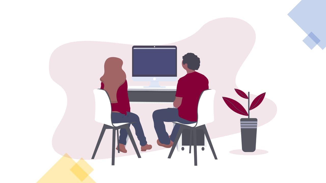 Online learning. Illustration of 2 business analysts learning online.